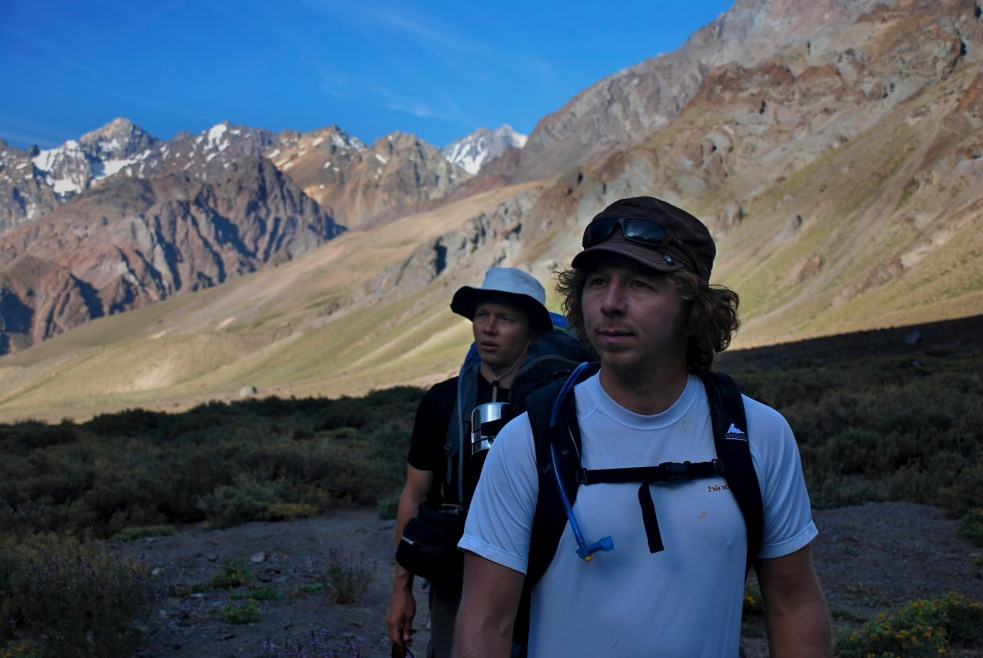 traveling through Chile Juncal Norte Glacier for American Alpine Club and Nikwax grant to study glacier change and climate change